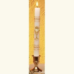 Gold Leaf Ornamented First Communion Candle-0