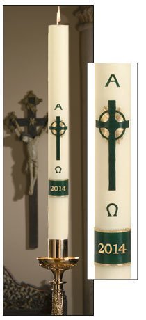 """Emerald Cross"" Paschal Candle-0"