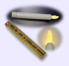 "Safety Glow Electric White Metal Candle - 7/8"" x 7-1/4""-0"