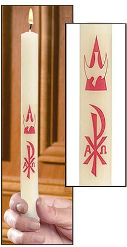 """""""Chi Rho"""" Baptism Candle - 51% Beeswax-0"""