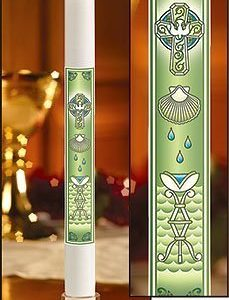 """Dove with Shell"" Baptismal Candles-0"