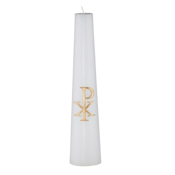 Christ Candle, Conical, Chi Rho, wax relief-0